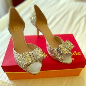 💎 Kate Spade Silver Glitter Sela D'Orsay Pumps